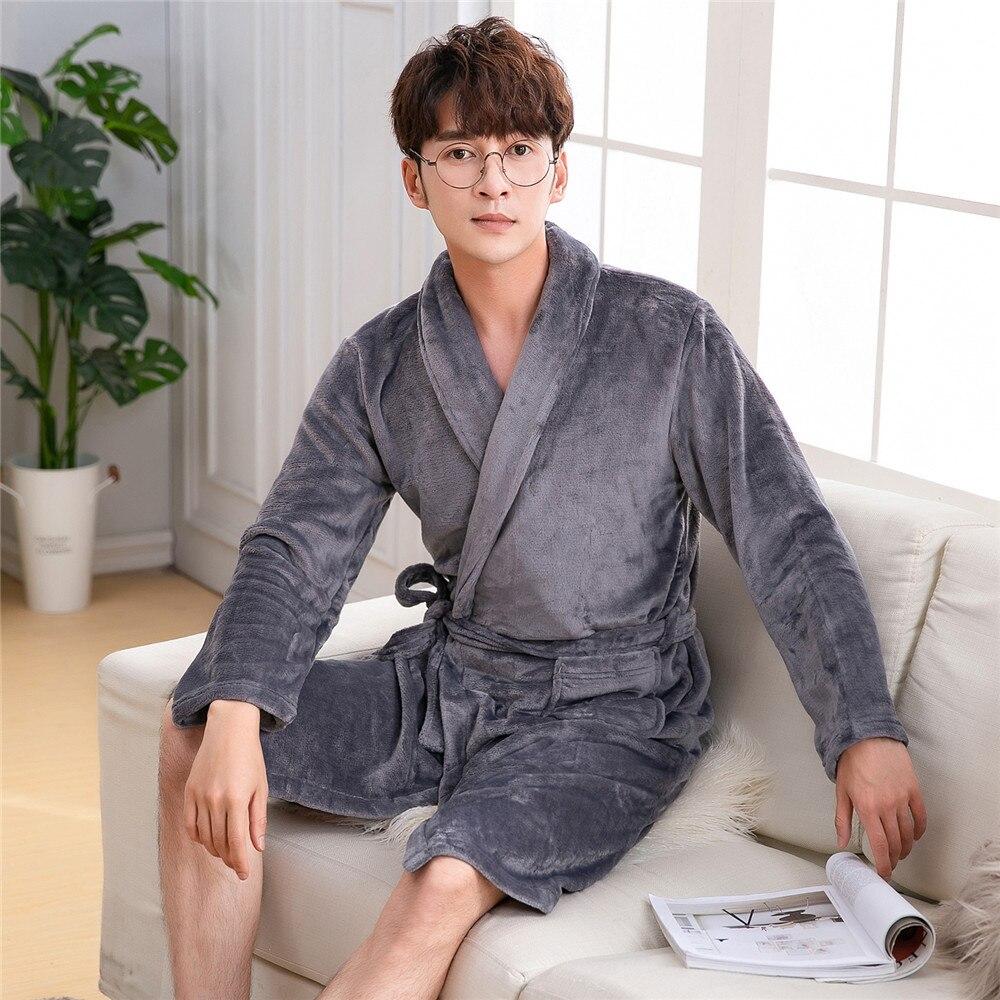 Gray Flannel Warm Men Kimono Robe Nightwear Autumn Winter Sleepwear Pocket Thick Coral Fleece Bathrobe Gown Home Clothing