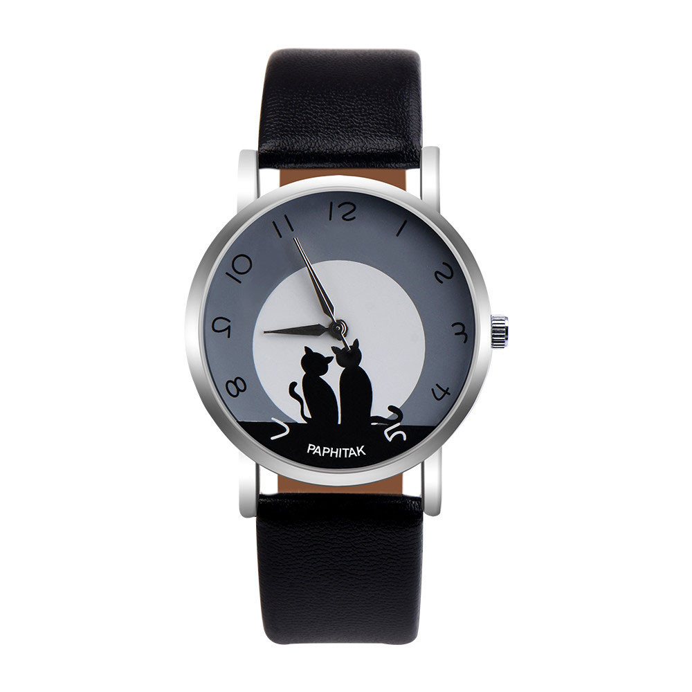 PAPHITAK Womens Cute Cat Faux Leather Analog Quartz Watch Female Watches Gifts For Women Woman Casual  Watch
