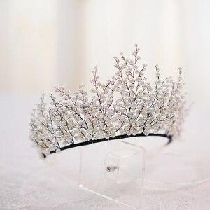 Image 5 - New Design Pearl Big Crown Wedding Tiara And Crown Gorgeous Black Wire Handmade Headband  Vintage Jewelry Bridal Headpiece
