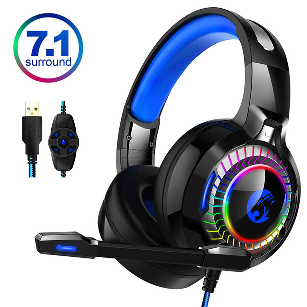 Wired Kopfhörer <font><b>Gaming</b></font> 7,1 RGB Licht HiFi Noise Cancelling Headset Gamer 7,1 Echt Stereo Surround USB mit Mic für <font><b>PC</b></font> PS4 image