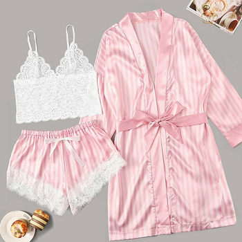 Long sleeve Womens Pajamas Sexy Lace Lingerie Nightwear Underwear Sleepwear 3PC Suit Pajama Sets For Women Pijama Mujer недорого