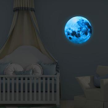 30cm Luminous Blue Moon 3D Wall Sticker living room bedroom decoration for kids room home decals Glow in the dark Wall Stickers 5cm luminous moon earth cartoon diy 3d wall stickers for kids room bedroom glow in the dark wall sticker home decor living room