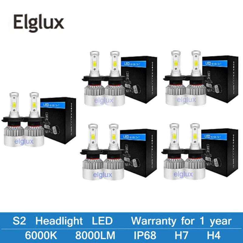 Lâmpadas de farol de carro super brilhante, led h4 h7 h8 h3 h11 h1 9005 9006 hb3 hb4 led lâmpadas turbo para automóveis 12v