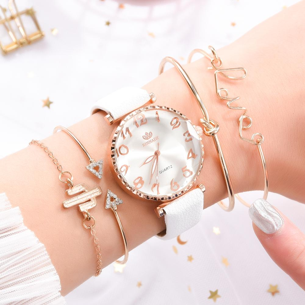 5pcs Set Luxury Women Watch Bracelet Fashion Ladies Bracelet Watch Casual Leather Quartz Wristwatch Clock Gift Relogio Feminino