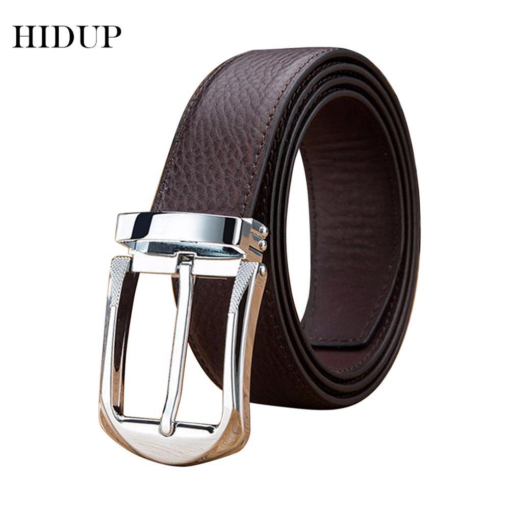 HIDUP Brand Designer Fashion Cow Genuine Leather Belts High Quality Luxury Design Pin Buckle Metal 33mm Wide Belt for Men NWJ596