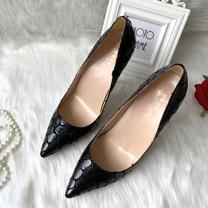 Image 5 - 2019 new style Factory wholesale black petal pointed toe perform walking show women lady hot sale 120mm block high heel autumn