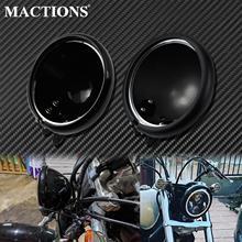 "Motorcycle 5.75"" LED Headlight Light Bulb Bucket Housing Bright Black/Matte Black For Harley Touring Road Glide Sportster Dyna"