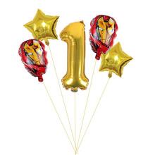 5 sztuk iron Man theme balon z folii aluminiowej czerwone numery chłopców i niemowląt birthday party dekoracje ścienne balon zabawka dla dzieci tanie tanio Disney CN (pochodzenie) Cartoon Amnimal ROUND Ślub i Zaręczyny Chrzest chrzciny St Świętego patryka Wielkie Wydarzenie
