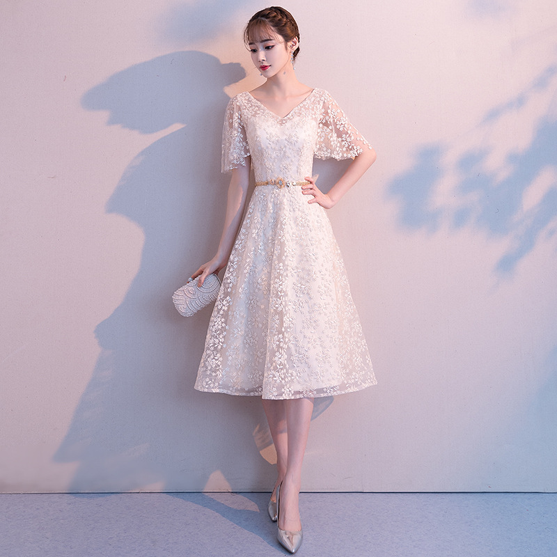 Dress Small Dress Women's 2019 Autumn And Winter New Style Banquet Simple And Elegant Debutante Birthday Party Bridesmaid Dress