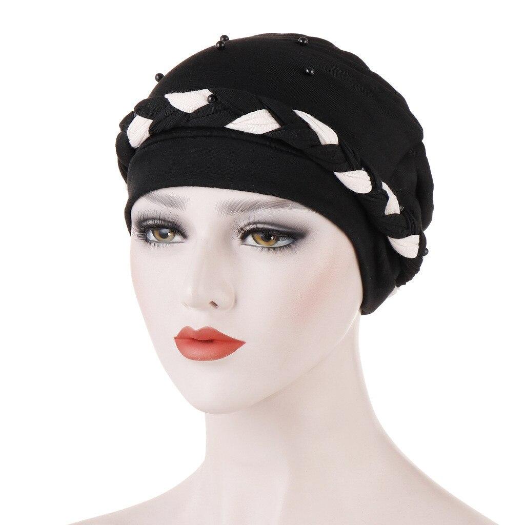 Hijabs Women Beading Braid India Hat Muslim Ruffle Cancer Chemo Beanie Turban Wrap Cap D90729