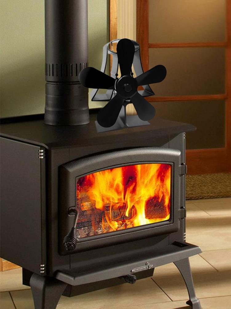 5 Blade Stove Fireplace Fan - Designed Blades Heat Powered for Wood/Log Burner/Fireplace Eco Friendly(Black)