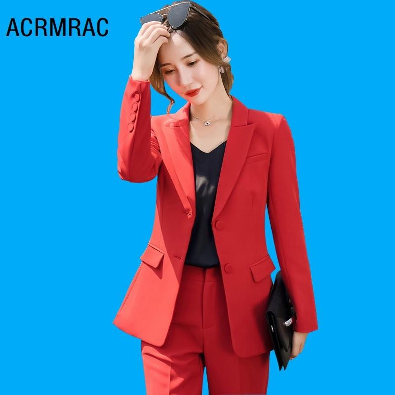 Women Suits Slim Autumn Red Jacket Pants 2-piece Set OL Formal Women Pants Suits Woman Set Suits 9366