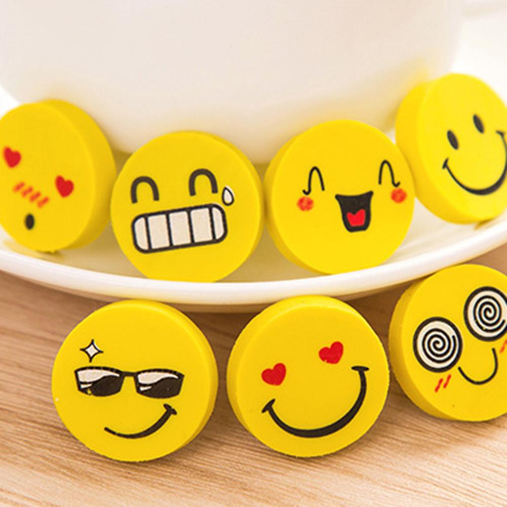 4Pcs Lovely Funny Smile Face Erasers Novelty Kawaii Eraser Small Size Kids Gifts