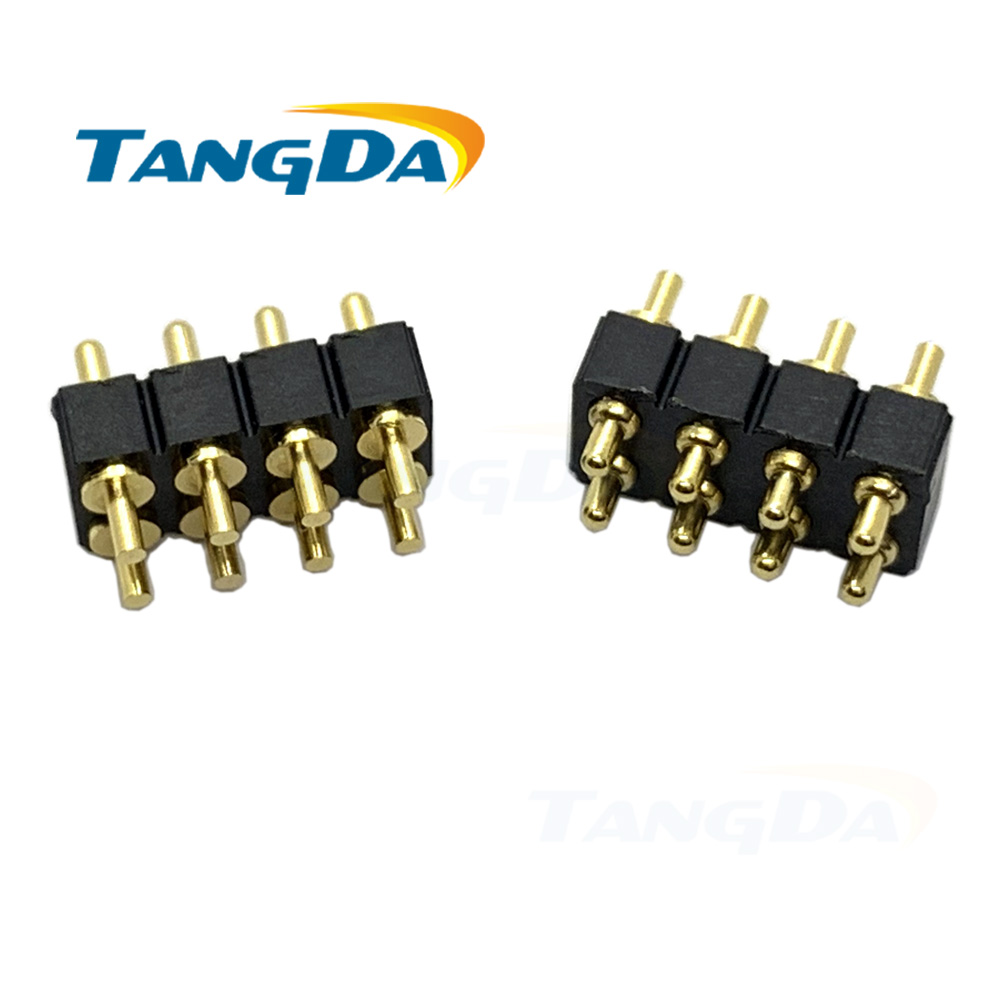 2*4pin Pogo Pin Connector 8p Spring Contact Pin 2.54 8pin Welding Plate Gold-plated Connectors Height: 5-12mm Pitch: 2.54mm AG