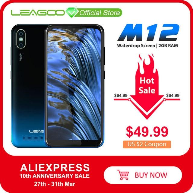 """LEAGOO M12 telefon komórkowy 5.7 """"19:9 HD + IPS ekran Waterdrop 2GB RAM 16GB ROM Android 9.0 MT6739V 3000mAh 8MP aparat 4G Smartphone"""