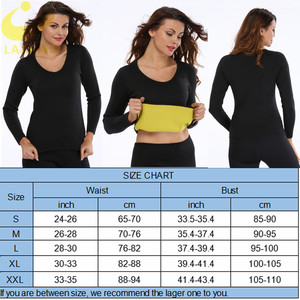 Image 5 - LAZAWG נשים חמה Neoprene חולצה סאונה זיעה חולצה כושר אימון ארוך שרוול חולצות הרזיה גוף Shaper גופייה שומן לשרוף מותניים Faja