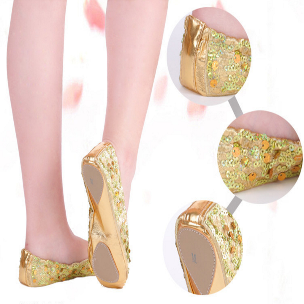 Women Belly Dance Ballet Flat Soled Shoes Golden/Silver Foldable PU Leather Classic Dancer Shoes