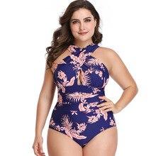 Plus Size Floral Printed Bikini Swimwear Women Spaghetti Straps V-Neck High Waist Wire Free Pad One Piece Swimsuit Biquini 2020 spaghetti straps string high cut two piece swimsuit
