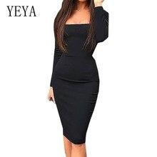 YEYA Women Stylish Casual Sheath Bodycon Work Office Dress Elegant Business Pencil Lady Dress Fashion Long Sleeve Retro Dresses stylish chainmail round collar long sleeve sheath dress for women