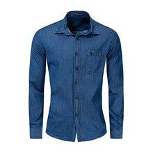 Men's Shirts Autumn and Winter Denim Pocket Cotton Shirt Men's Long Sleeve Shirt Europe and America Large Size Casual Shirt long sleeve pocket printed denim shirt