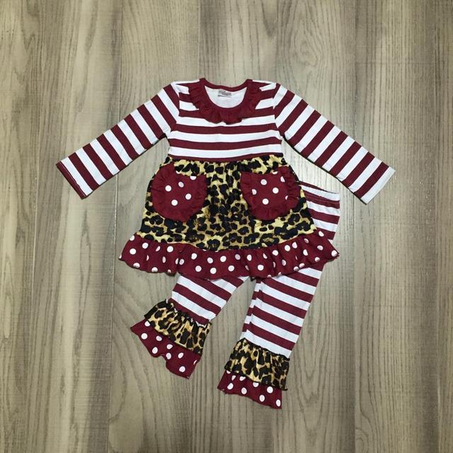 新着秋/冬女の赤ちゃんワインヒョウストライプズボンのポケットの子供服フリルブティック子供服セット
