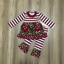 New arrivals herfst/Winter baby meisjes outfits wijn luipaard streep broek pocket kinderen kleding ruches boutique kidswear set