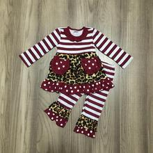 Nowości jesień/zima dziewczynek stroje wino leopard spodnie w paski kieszeń dzieci ubrania ruffles boutique kidswear set