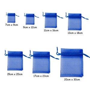 Image 5 - 50 шт. 7x9 9x12 10x15 13x18 см органза подарочные пакеты ювелирные изделия Искусственные Украшения для вечерние Выдвижная сумка подарок белый 5z