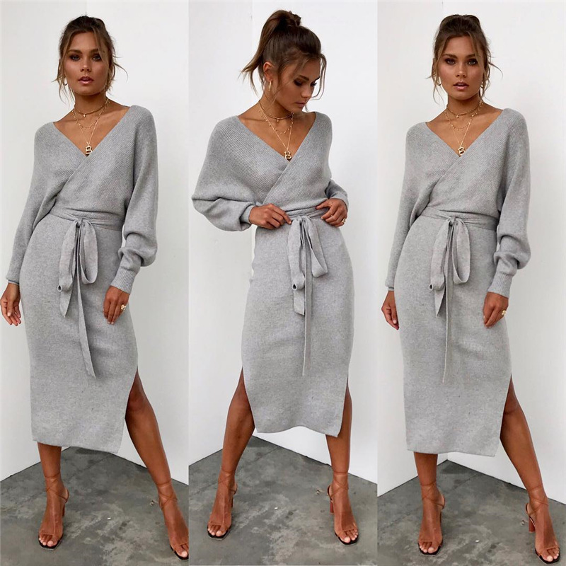 Hot Sale Hot Style Autumn And Winter 5-color Sexy V-neck Lace Up Long Sleeve Women's Dress 101245