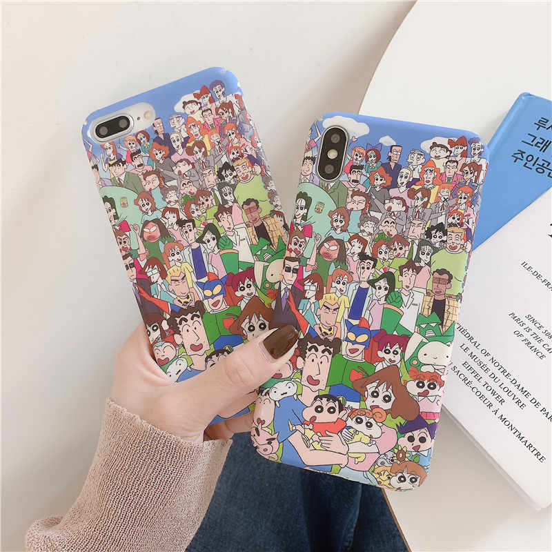 Japan Anime Crayon Shinchan Ultraman Ponsel Case untuk IPhone11 Pro Max X XS Max XR 8 7 6 S PLUS hard Plastic Back Cover Fundas