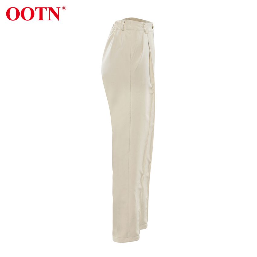 Ha42099b1626c4fb395558c3e1729b8ed7 - OOTN Casual High Waist Khaki Pants Women Summer Spring Brown Ladies Office Trousers Zipper Pocket Solid Female Pencil Pants