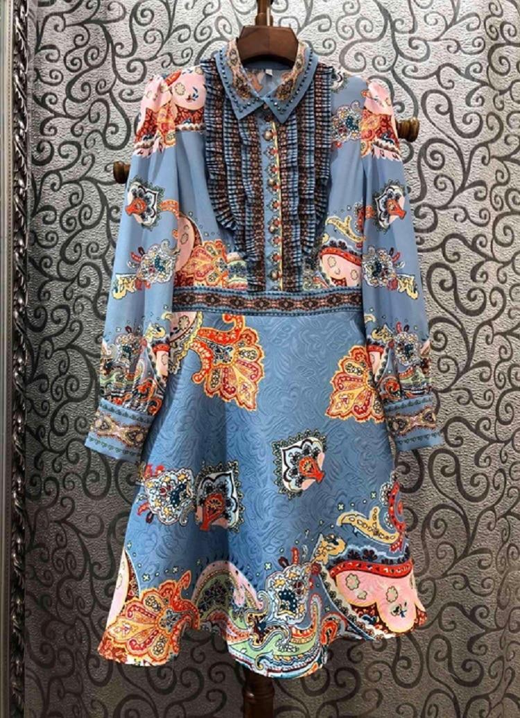 Mais recente designer de moda vestido 2020 primavera festa evento feminino vintage jacquard floral impressão plissado retalhos azul rosa vestido xl - 3