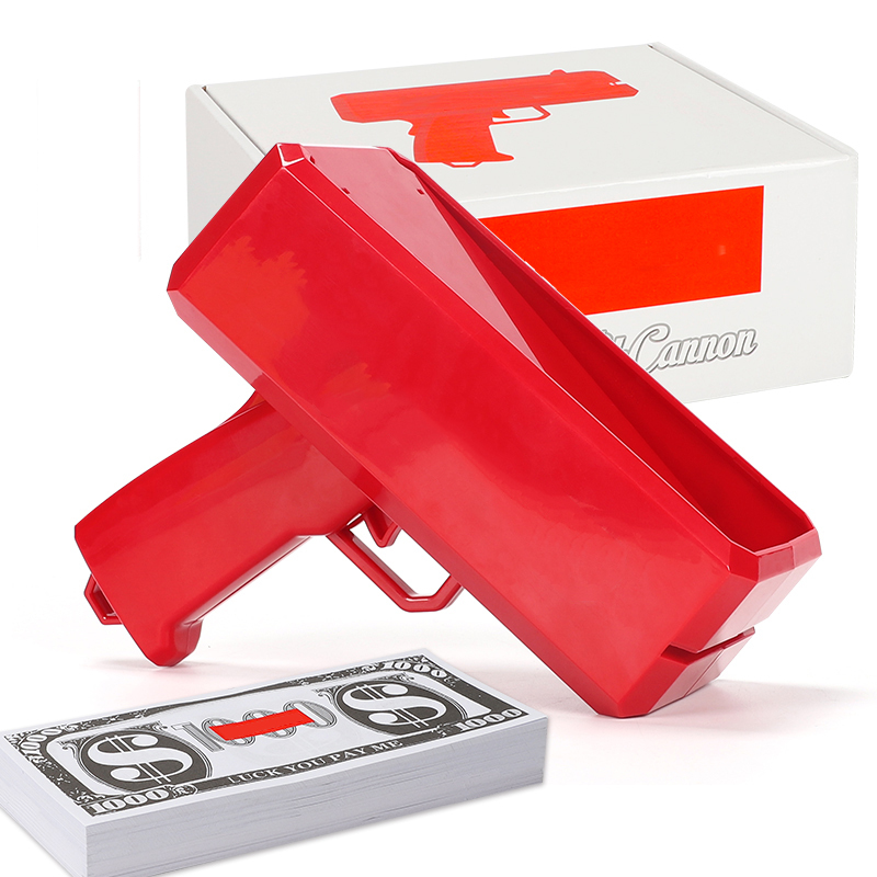 New Make It Rain Money Gun Red Pink Toy Christmas Gift Party Toys Game 100PCS Cash Fashion Toys Bubble Column For Package