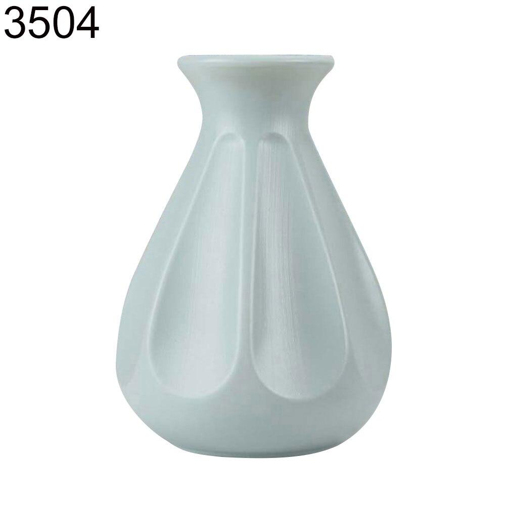 Пластиковый Небьющийся цветочный горшок ваза Современная Кабинет Прихожая Свадьба домашний офис Декор Настольная Ваза - Цвет: Green 3504