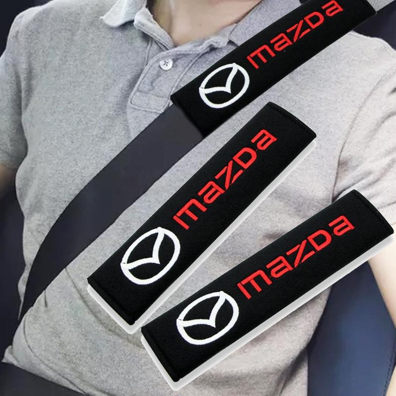 Чехол для автомобильного ремня безопасности с логотипом, защита для автомобильного ремня безопасности для Mazdas 2 3 4 5 6 7 8 323 626 CX5 CX7 CX9 RX8 MX3 MX5 Atenza...