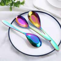 Juego de cuchara de sopa de 3 piezas de arcoíris, juego de cubiertos de acero inoxidable, cuchara única, accesorios de cocina de cucharas de oro