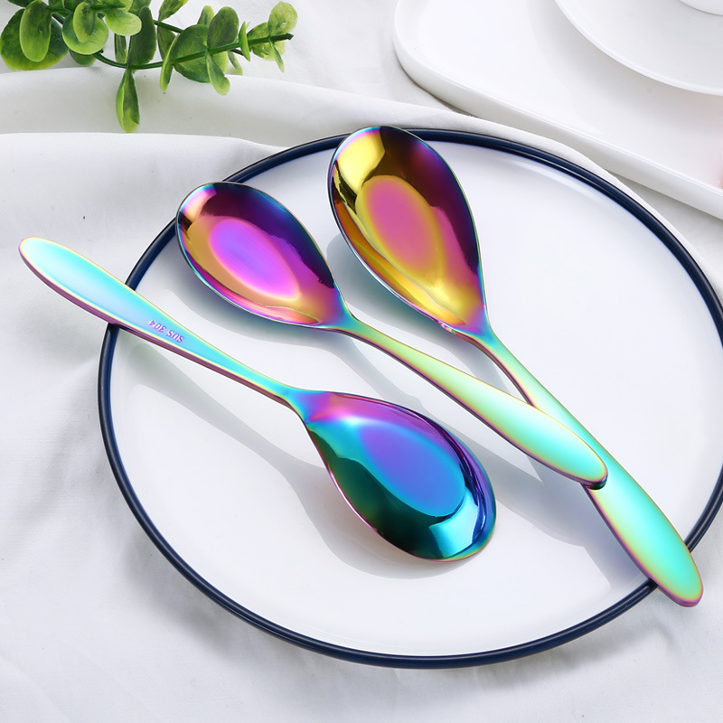 Rainbow 3pcs Soup Spoon Set Stainless Steel Cutlery Flatware Unique Gold Spoons Kitchen Accessories