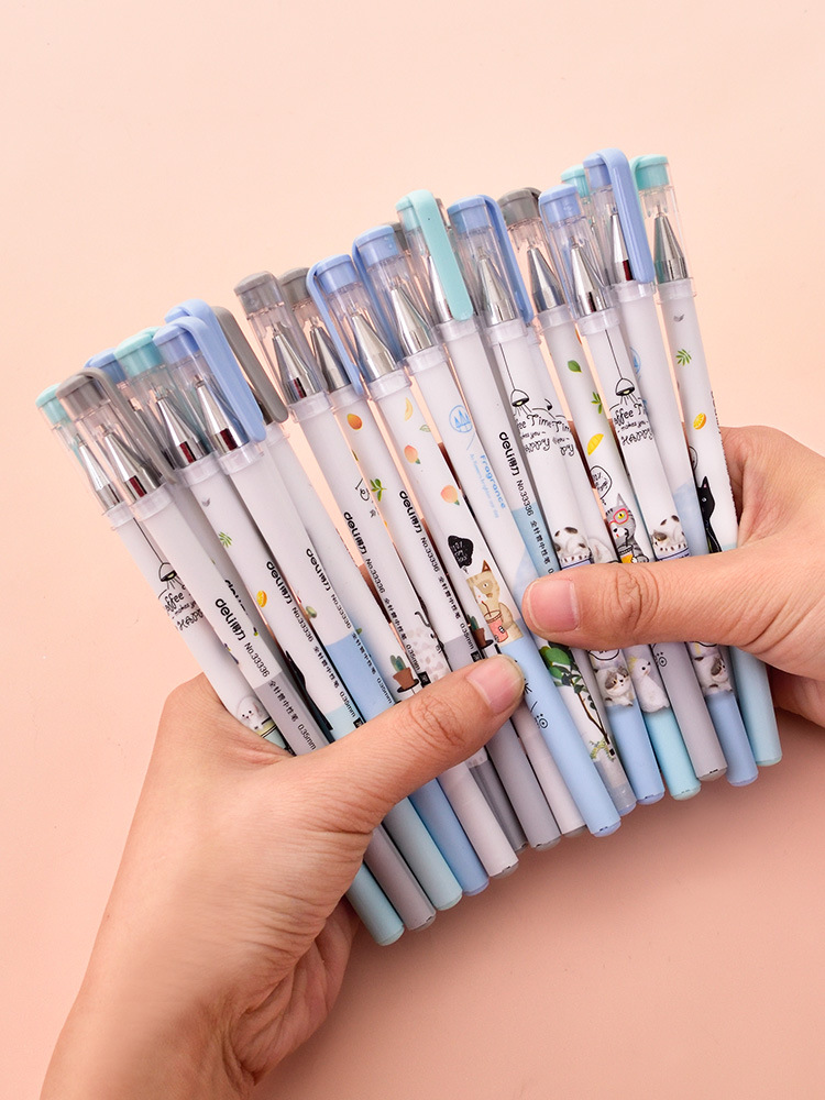 4 Pcs/lot Black Pullout Cute Cartoon Gel Pen Signature Pen Escolar Papelaria School Office Supply Promotional Gift