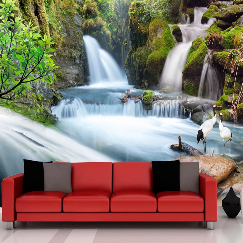 Custom 3D Photo Wallpaper Waterfall Nature Landscape Wall Painting Art Wall Papers Home Decor Living Room Decoration Wall Murals