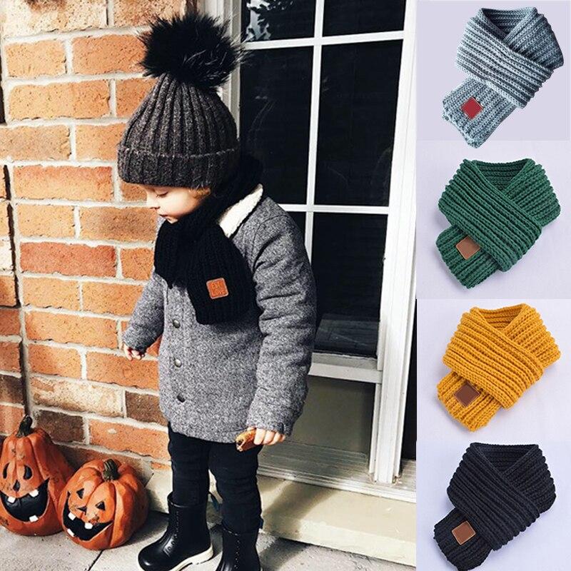 Kids Boys Girls Winter Scarf Kids Pompom Baby Scarf Neck Warmer Scarves Knitting