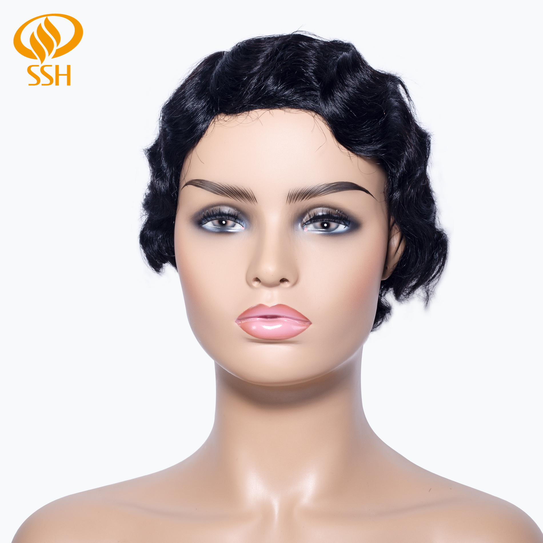 SSH Finger Wave Wig Short Non-Remy Human Hair Natural Color For Black Women