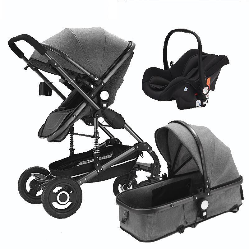 Cochecito de bebé 2 en 1/3 en 1 multifuncional puede sentarse alto paisaje cochecito de dos vías plegable cochecito envío gratis