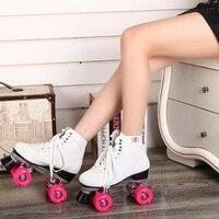 Skate 4 wheels skates quad roller inline for Girls skating shoes White and Pink outdoor/indoor high top Quad Roller Skates