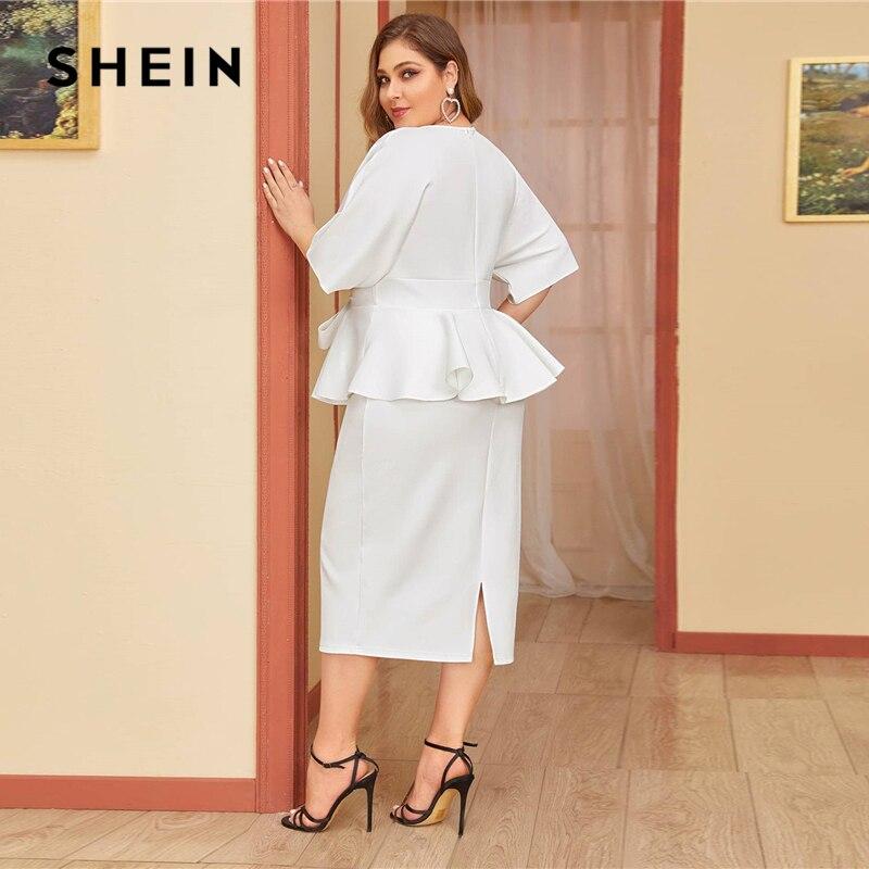 SHEIN Plus Size White Plunging Neck Dolman Sleeve Tie Waist Peplum Dress Women Solid High Waist Slit Bodycon Elegant Dresses SHEIN Women Women's Clothings Women's Shein Collection cb5feb1b7314637725a2e7: White