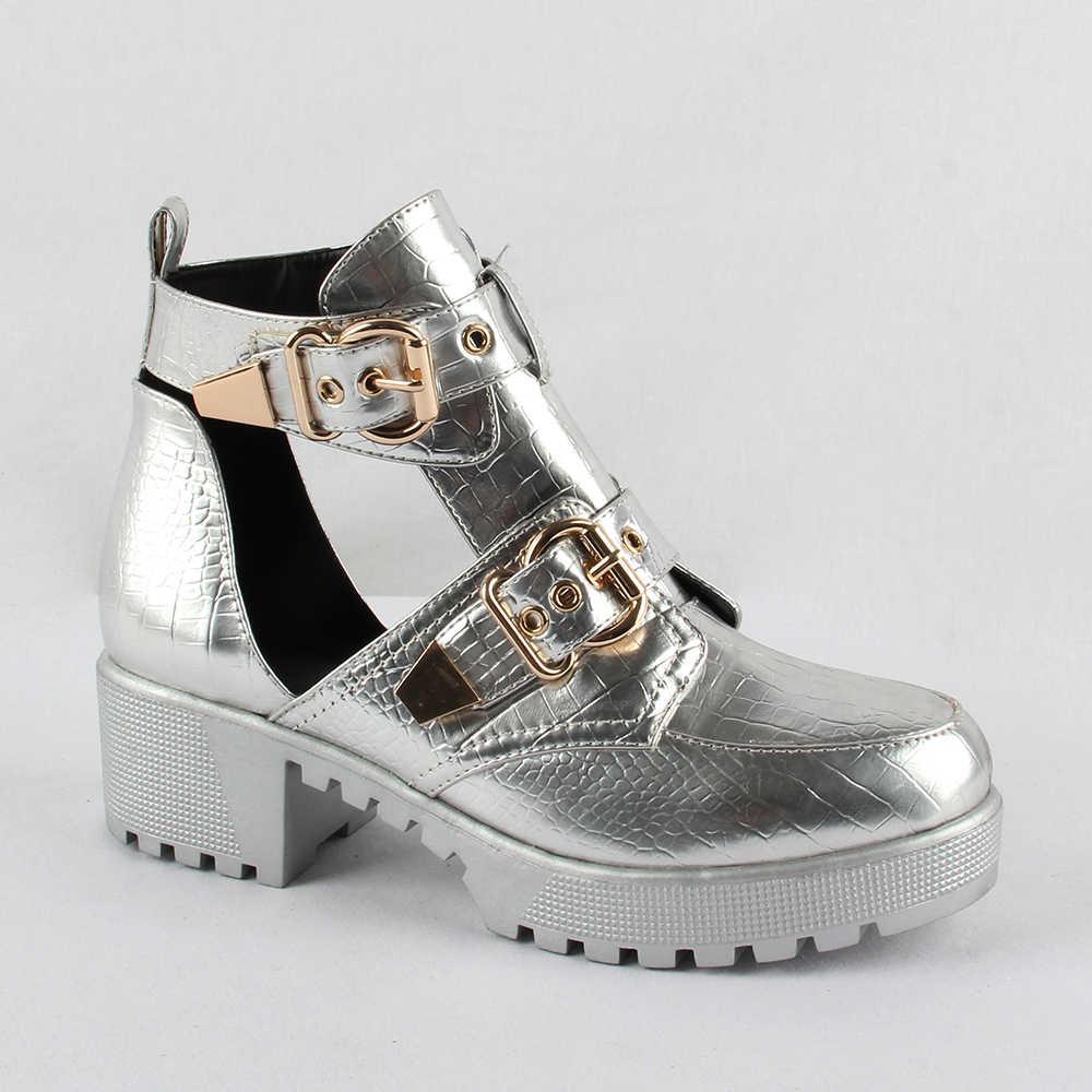 2020 sping verão botas de tornozelo do vintage para as mulheres fivela sapatos mulher couro do plutônio retro bloco salto alto feminino cortar sandálias