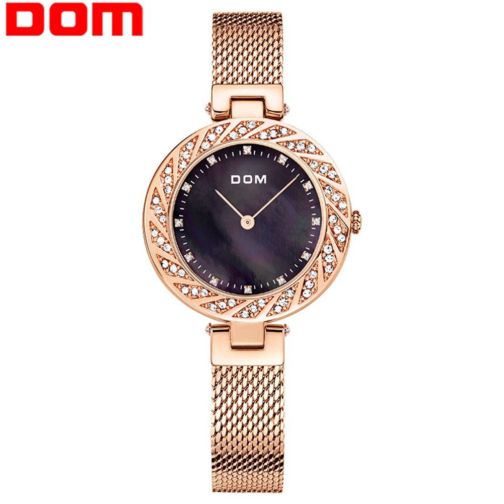 DOM Watch Women Watches Luxury crystal diamond fashion brand ladies Wrist watch Gold Female clock reloj mujer relogio feminino