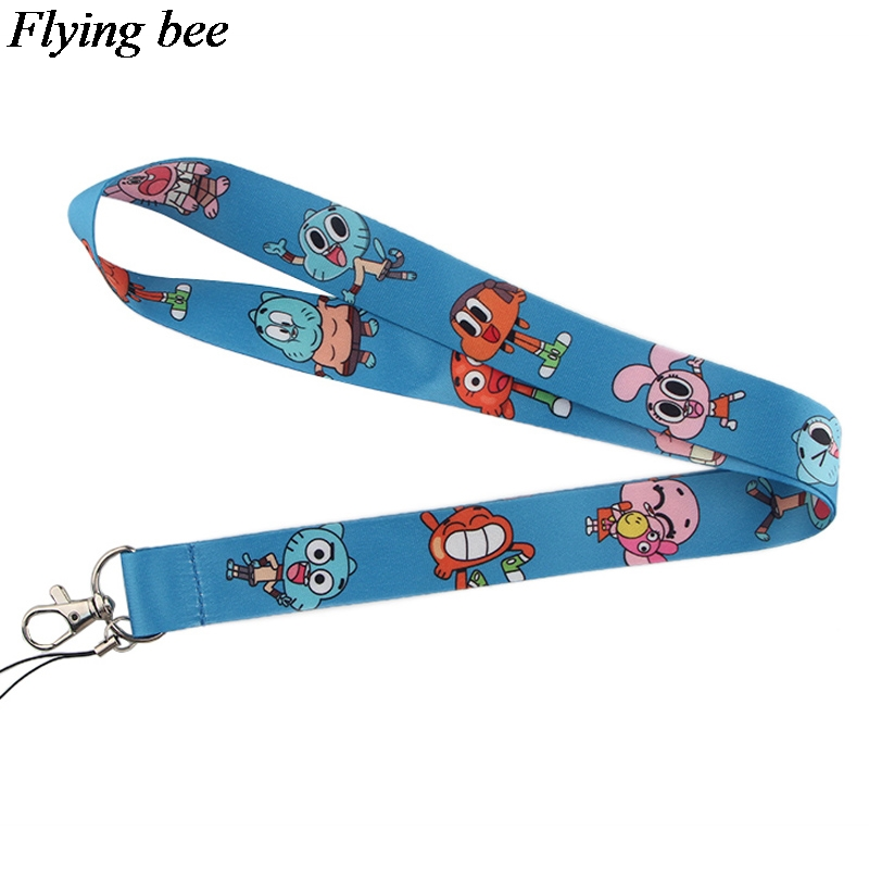 Flyingbee The Amazing World Of Gumball Keychain Phone Lanyard Cartoon Neck Strap For Keys ID Card Mobile Phone Lanyards X0538