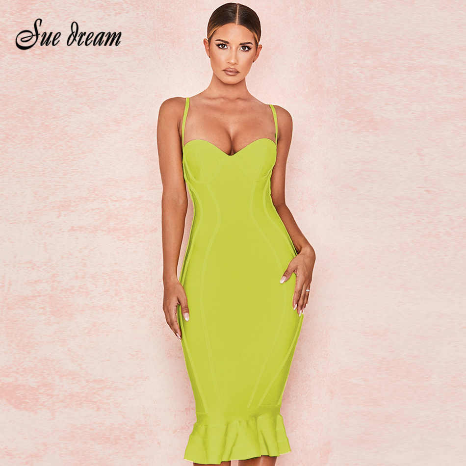 2019 summer new women's yellow bandage Mermaid  dress spaghetti fashion sexy bodycon club party dress