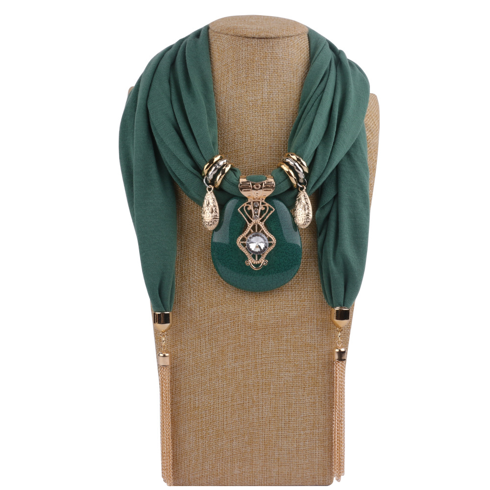 Fashion Women Solid Color Tassel Wrap Scarf Multi-style Decorative Jewelry Necklace Pendant Scarf Hijabs Femme Head Scarves