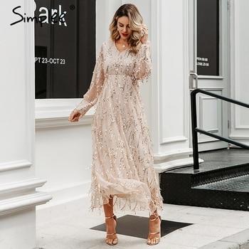 Simplee Sexy v-neck evening women maxi dress Elegant mesh long sleeve sequin night dress autumn lady plus size party dress 2019 2